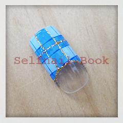 201014セルフジェルネイルタータンチェック柄青色01