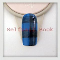 211014セルフジェルネイル青色タータンチェック柄アートのやり方02