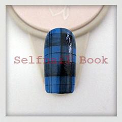 211014セルフジェルネイル青色タータンチェック柄アートのやり方03