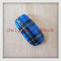 211014セルフジェルネイル青色タータンチェック柄アートのやり方05