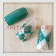 221014セルフジェルネイルアーガイル柄緑