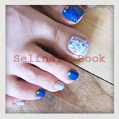 241014セルフジェルネイル青色ツイード柄フットネイル02