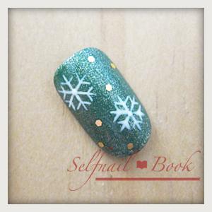 061214セルフジェルネイル雪の結晶手書き書き方01