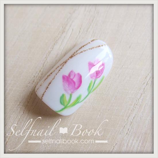 春の花 チューリップネイルのやり方10