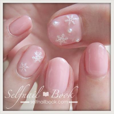 2017年 冬ネイルは、ピンク×雪の結晶1