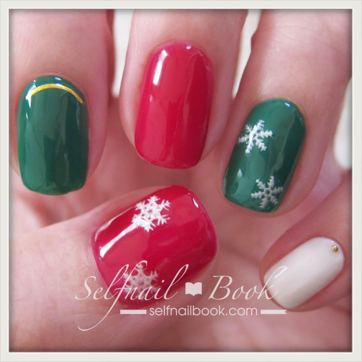 簡単クリスマスネイル1